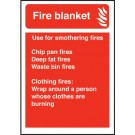 Fire Blanket/Use For Smothering Fires Sign S/A 140 x 200mm